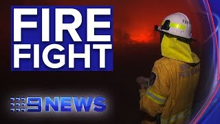 Better weather conditions helping crews in bushfire battles | Nine News Australia