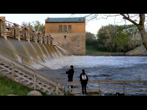 2020 May 20 - Barton Dam, High Water, Fishing 1080p