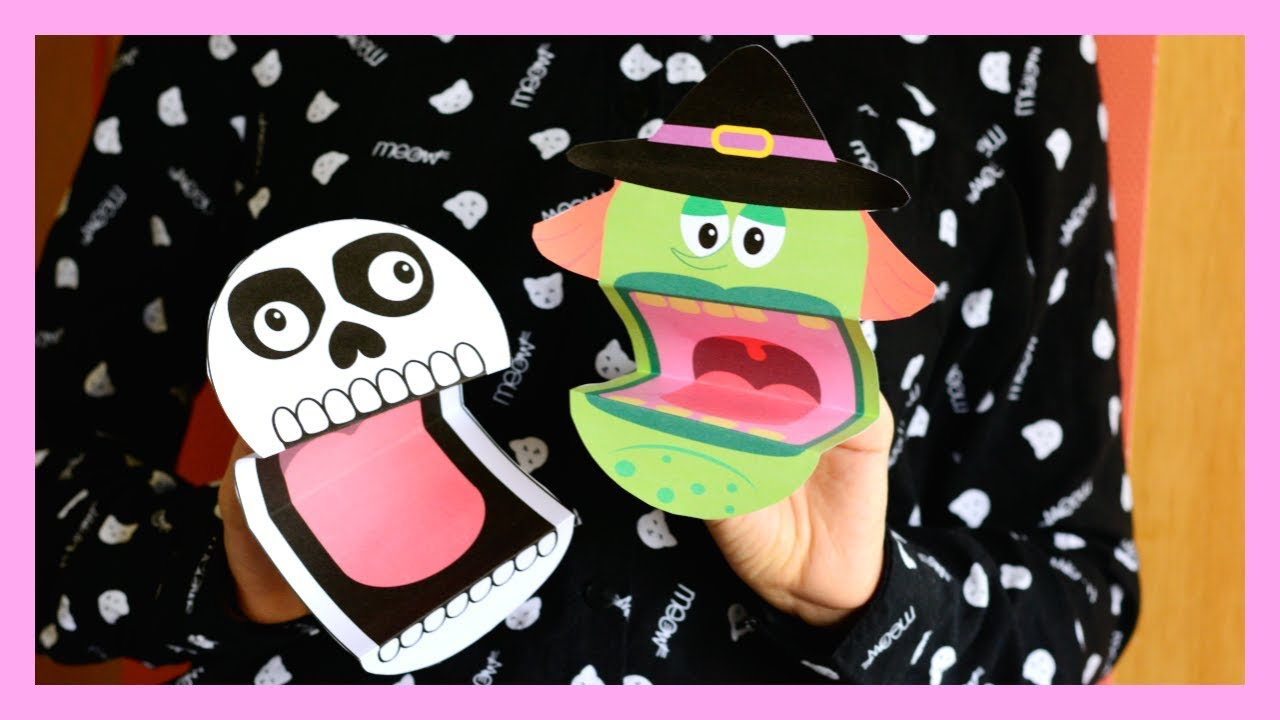 graphic regarding Halloween Crafts for Kids+free Printable referred to as Printable Halloween Puppets - Halloween crafts for children