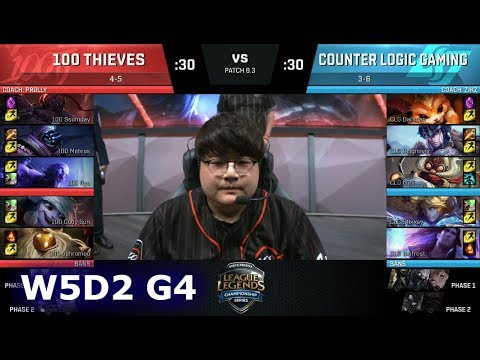 100 Thieves vs CLG | Week 5 Day 2 of S8 NA LCS Spring 2018 | 100 vs CLG W5D2 G4