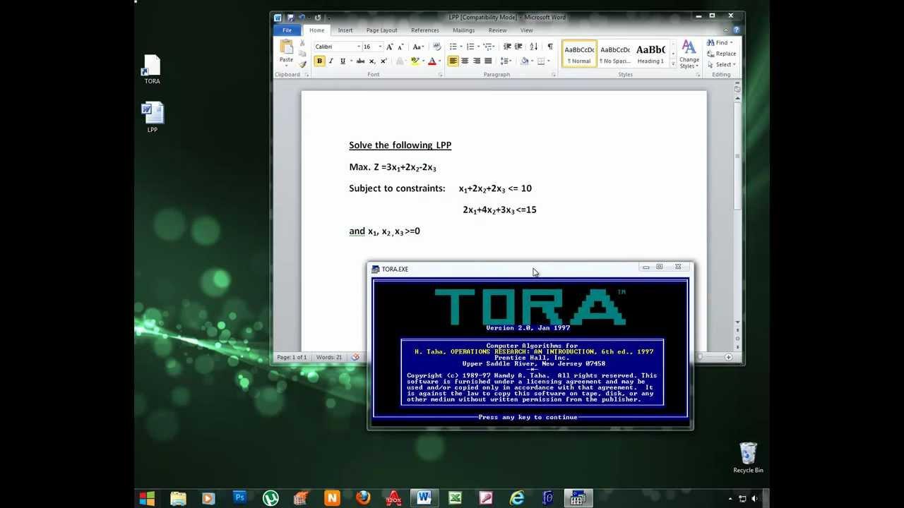 solving job concern utilizing tora