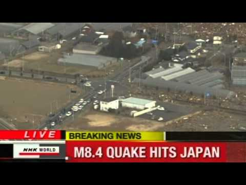 Tsunami 2011 in Japan - Helicopter Footage from NHK World (2011-03-11)