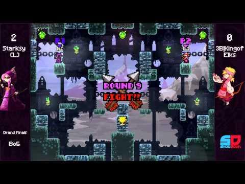 Towerfall SF #1 - Grand Finals: Starksy (Purple) vs 3B|KingofElks (Pink)