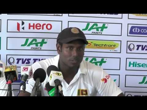 Angelo Mathews after winning the second Test against Australia