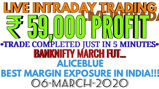 LIVE INTRADAY TRADING|₹59000 PROFIT|NIFTY|BANKNIFTY|ALICEBLUE|TRADERS CLUB|06-MARCH-2020|