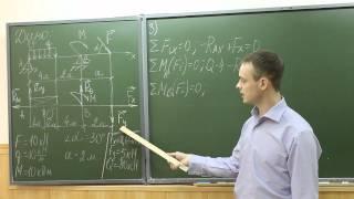 Видеоурок 2. Определение реакций двухопорных балок.