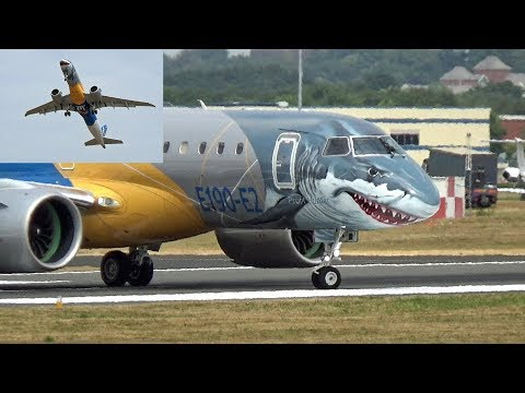 "🇧🇷 Embraer E190-E2 Shark Face at Farnborough Airport ""Practise Display"""