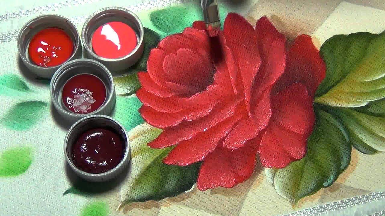 Marcos rodrigues pintura de rosa em tecido parte 3 youtube for Marcos para pinturas