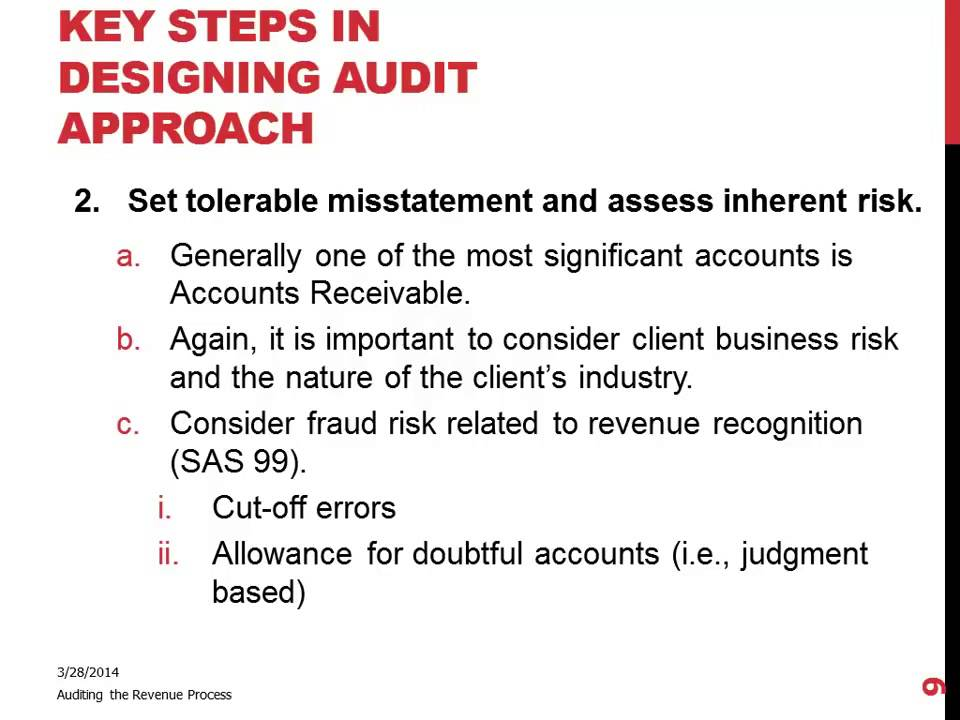 audit approach An audit of internal control begins by using a top-down approach the top down approach starts with a companies financial statements, and the.