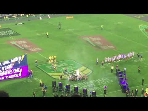 NRL Grand Final 2017 - Entrance Of Melbourne Storm and North Queensland Cowboys