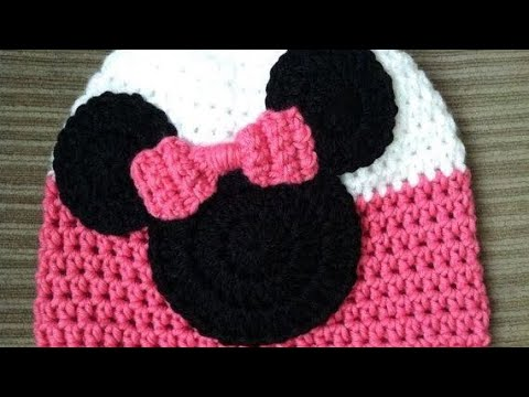 GORRO TEJIDO MINNIE MOUSE 6 MESES - YouTube 6b3a81f7552