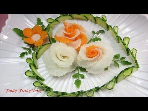 Art In Radish & Carrot Roses Design - Best Vegetable Flower Carving Garnish