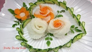 Art In Radish & Carrot Roses Design - Best Vegetable Flower Carving Garnish