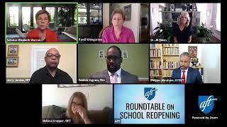 Aft president randi weingarten, dr. jill biden and sen. elizabeth warren discuss school reopening plans with leaders fed ingram, jerry jordan, melissa cr...