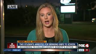 Two Collier County students arrested for bringing knives to school