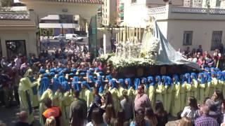 Procesión Gamarra 2017. Virgen en la puerta principal.