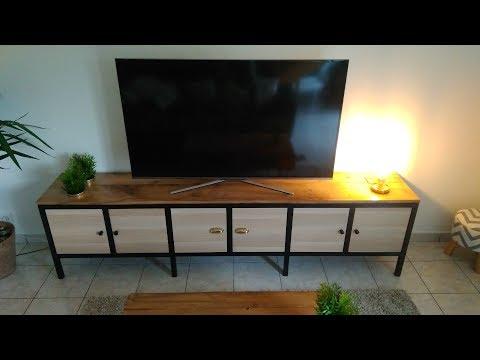 Création et fabrication Meuble TV Métal/Bois : Ossature Acier, chêne massif, box IKEA