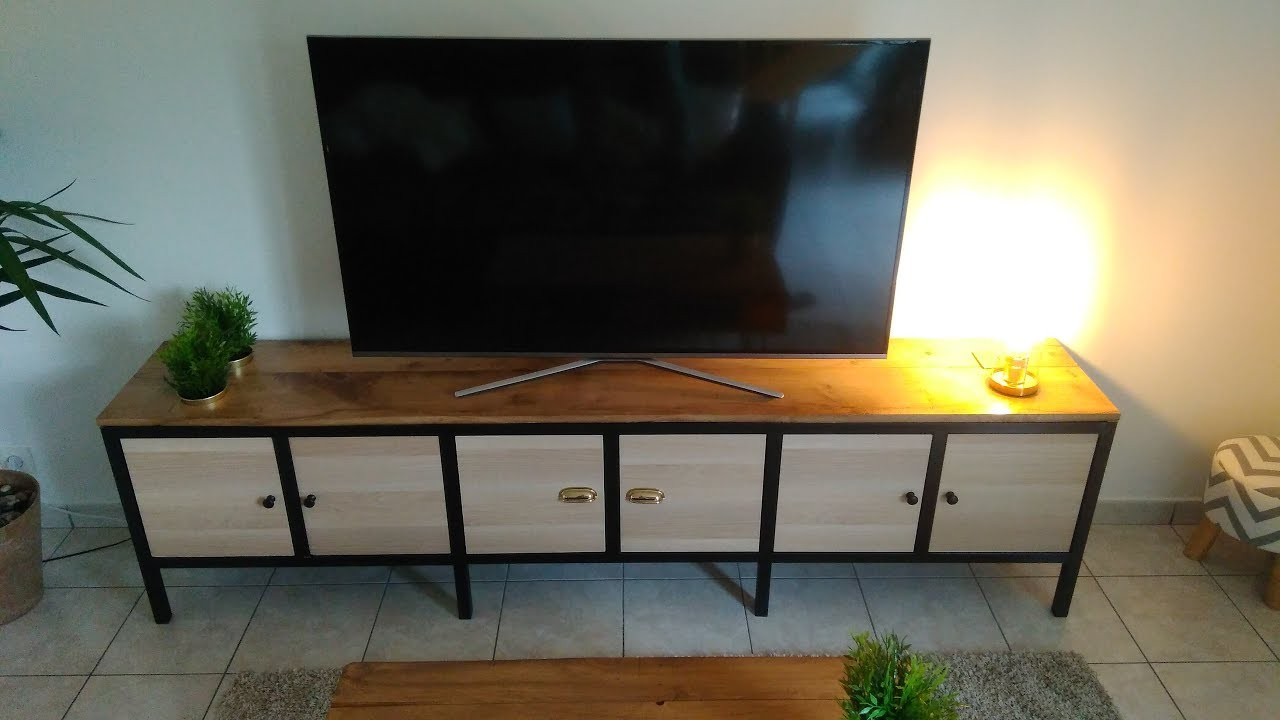 creation et fabrication meuble tv metal bois ossature acier chene massif box ikea