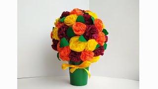 Поделки на 8 марта. Подарок маме своими руками. Букет цветов из салфеток. Мастер класс.