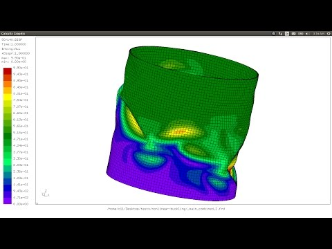 Nonlinear buckling of shell with imperfections (FEA)