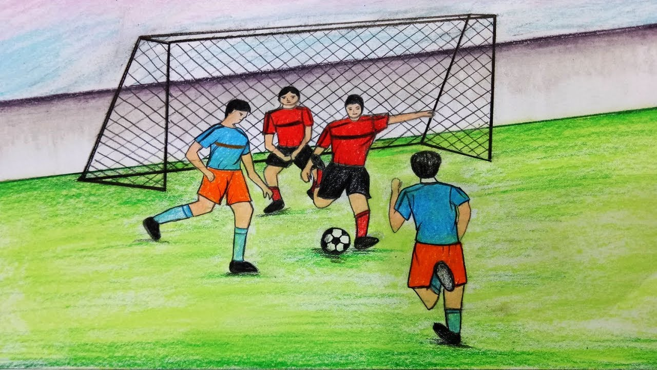 How To Draw Scenery Of Playing Football Step By Step Easy Draw