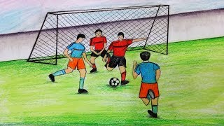 How to draw scenery of playing football.Step by step(easy draw)
