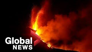 La Palma volcano: Lava from volcano reaches ocean, raising toxic gas fears   LIVE