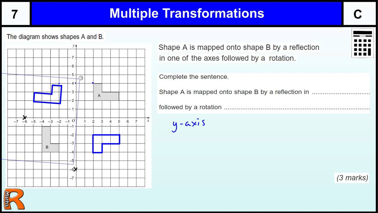 Describing Transformations reflection and rotation GCSE Maths revision Exam  paper practice \u0026 help - YouTube [ 720 x 1280 Pixel ]