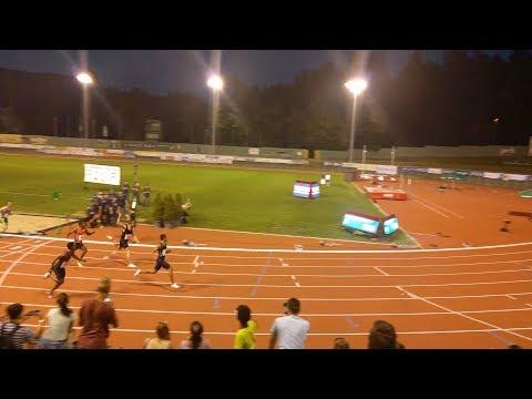 Wayde van Niekerk wins the 100m in 9.94 at 2017 Velenje Meeting (stadium cam 4K)
