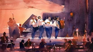 """Advancing with Watercolor: Tonal Values """"The Band Played On"""""""