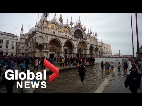 Venice's St Mark's Square flooded with water and tourists