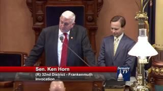 Sen. Horn delivers invocation at Michigan Senate
