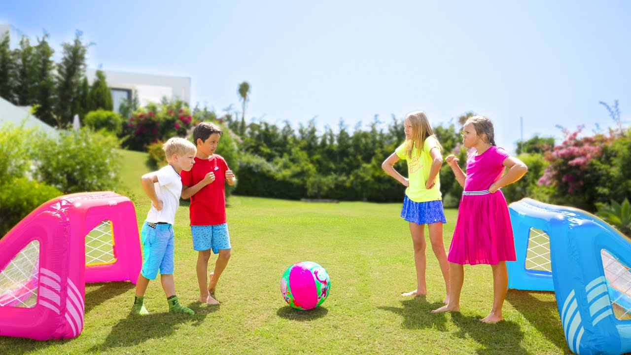 Amelia & Avelina sport challenge, boys vs girls kids fun with Akim & Roma