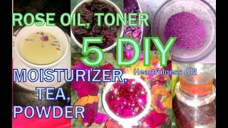 Top 5 Best Uses of Rose Petals at home | DIY Moisturizer, Oil, Toner, Powder & Tea|Heartfulness OM