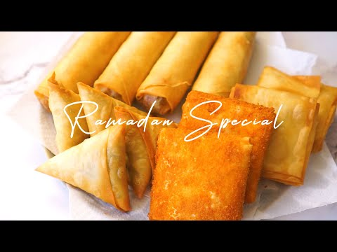 4 MAKE and FREEZE Recipes with Spring Roll Wrapper ASMR | Ramadan Meal Prep