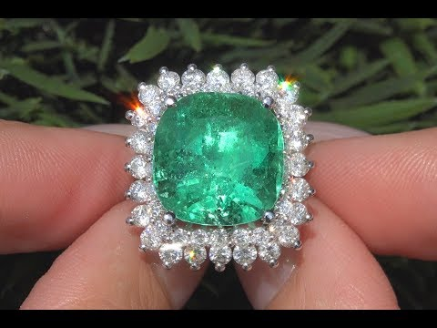 GIA Natural Green Emerald & Diamond Ring Certified Estate 14k White Gold 13.46 TCW - C965