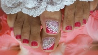 Hot Pink and White French Pedicure Wedding Toes Art Design Lace Details Tutorial Advanced(The best things in life are still made by hand. Hello everybody, I love this design so I decided to share it with you as well. Hope you like it as much as I do:) ., 2015-11-11T02:00:00.000Z)