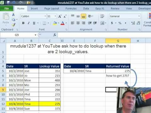 Mr Excel & excelisfun Trick 52: Lookup Two Criteria: SUMIFS, DGET, or Array  Formula?