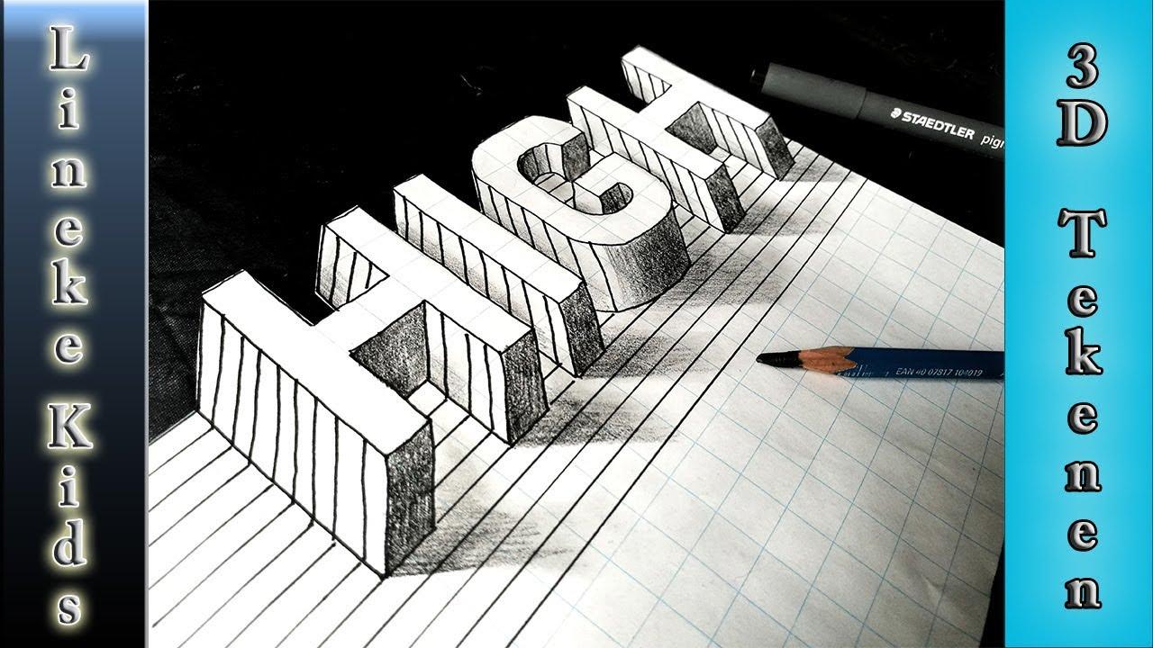 3d letters tekenen voor beginners youtube for Tekenen in 3d