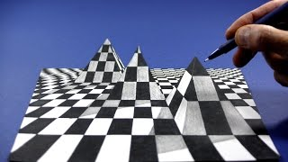 Drawing 3D chess pyramid, Visual Illusion