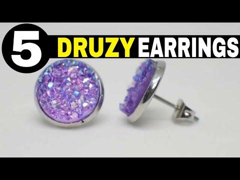 Druzy Earrings Studs Design - 5 Stunning Colors! - COOL!