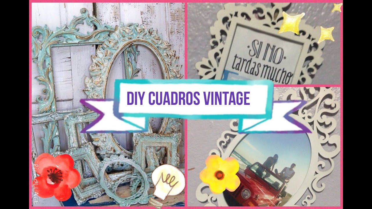 Diy cuadros vintage facil y rapido youtube for Cuadros vintage para salon