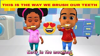 This is the way we brush our teeth song for kids with lyrics
