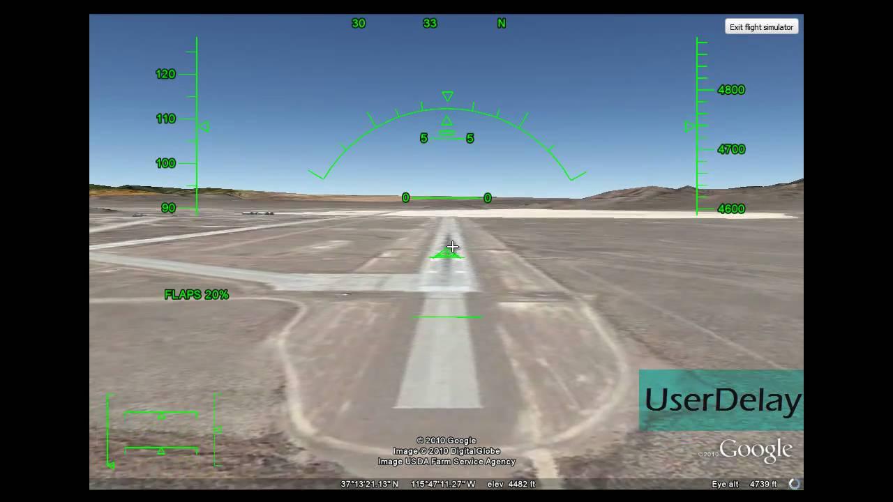 Google Earth   Flight Simulator   Landing at Area 51 - YouTube