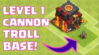 "Clash Of Clans ""LEVEL 1 CANNON TROLL BASE"" 100 DEFENSIVE WINS 