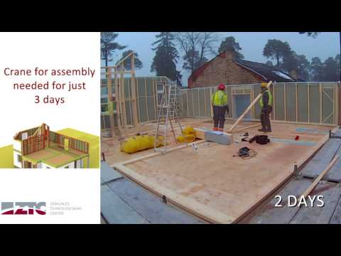 Construction of a timber frame panel house timelapse