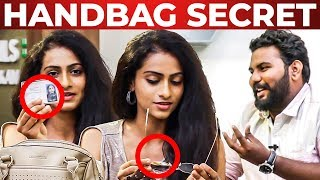 Flexible Glass Inside SARKAR Actress Abitha's Handbag segment | What's Inside the HANDBAG