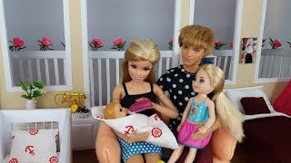 Barbie and cute Baby with Chelsea and Ken in doll Dreamhouse