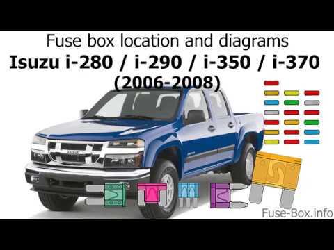 fuse box location and diagrams: isuzu i-280, i-290, i-350, i-370 (2006-2008)