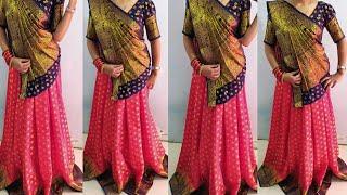 Lehanga Style Saree wearing।शादी के लिएं इस तरह साड़ी पहने। Elegant look Saree draping।।saree drape